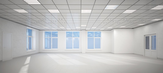 3D big empty white office