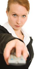 Businesswoman with a remote control