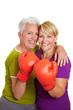Zwei Frauen mit Boxhandschuhen