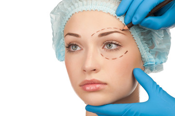 Face before plastic surgery operation