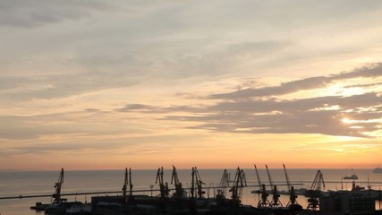 Sunset in the harbor of Odessa, Ukraine