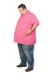 Fat man with pink shirt