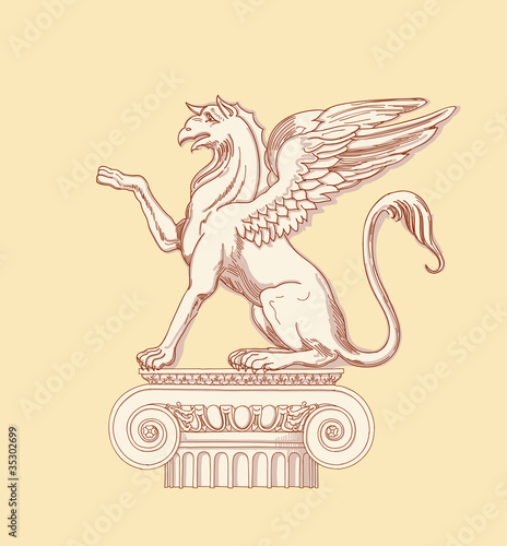Griffin, seated on an Ionic column - hand draw sketch