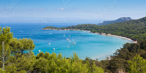Panoramic view of Porquerolles island in France