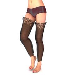 Weiblicher Unterkörper mit Slip und Strümpfen