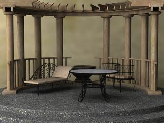 Gartenszene mit Pavillon und Gartenmöbeln