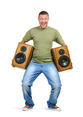 Cool dude with two speakers isolated