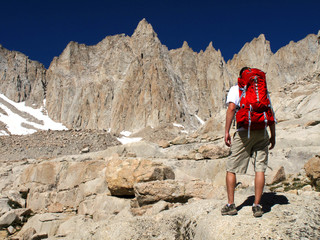 Hiking a tall mountain