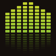 green musical equalizer over black background