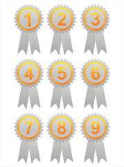 set of 9 glossy labels with numbers