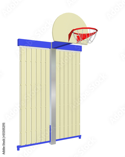 Red, blue and beige wall-mounted basketball goal with protective