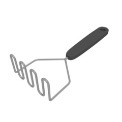 Stainless steel potato masher with black handle, 3D illustration