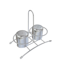 Stainless steel salt and pepper shakers with rack, 3D illustrati
