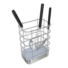 Stainless steel wire basket rack or holder with frying laddle, s