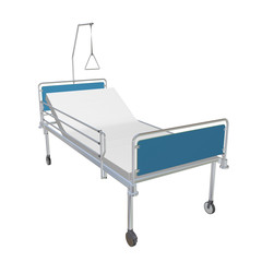Blue and chrome mobile hospital bed with recliner, 3d illustrati