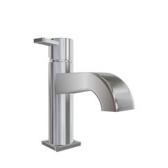 Modern faucet with chrome or stainless steel finishing, 3d illus