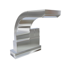 Modern square faucet with chrome or stainless steel finishing, 3