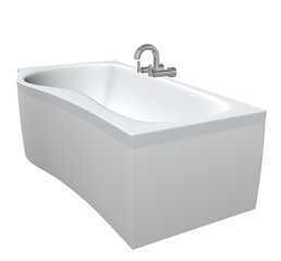 Ceramic or acrylc bath tub set with chrome fixtures and faucet,