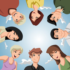 Cartoon people forming a circle of head