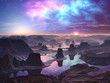 Gaseous Aurora over Mountainous Alien Landscape