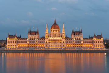 Hungarian parliament at dusk, floodlight