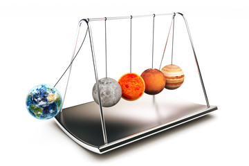 Newton balls concepts with planets ,isolated on a white