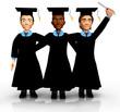 3D Happy graduates