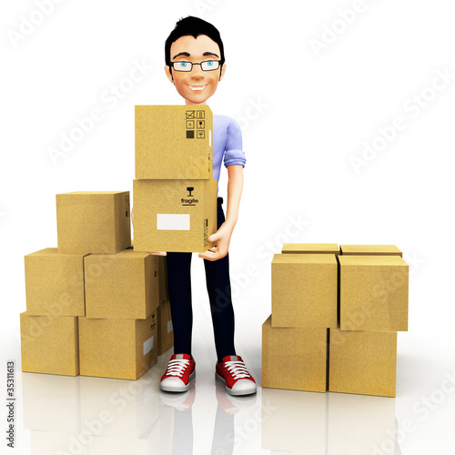 3D man with boxes
