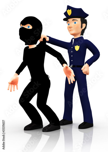3D police arresting a thief