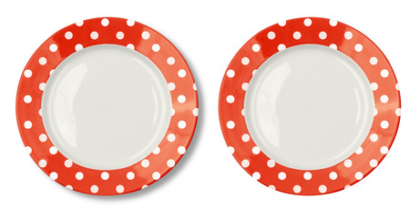 Round plate with red border isolated on white with clipping path