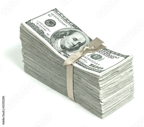 Stack of United States Currency Tied in a Ribbon - Hundreds