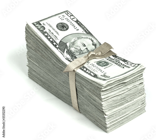 Stack of United States Currency Tied in a Ribbon - Fifties