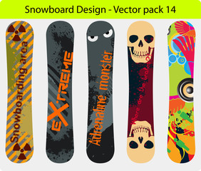 Editable vector snowboard design pack 13