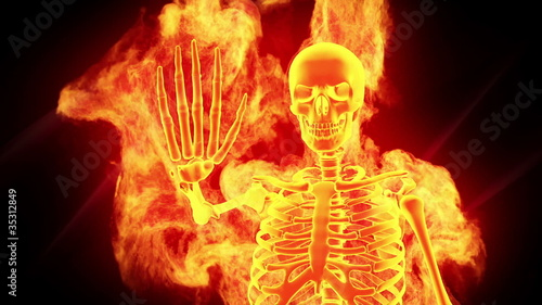 Fiery skeleton, a stop sign