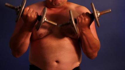 Men lifting dumbbell