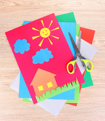 funny children's applications on wooden background