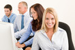 Business team happy sit in line behind table
