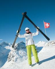 Skier in winter resort