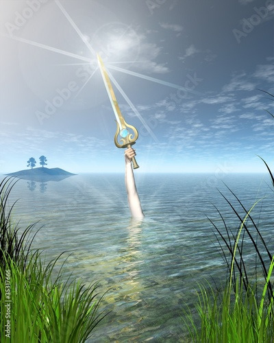 The Lady of the Lake holding the Sword Excalibur