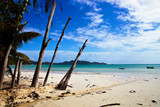 View of white sandy  beach in Praslin