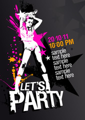 Let`s Party design template with fashion girl and place for text
