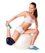 Woman with knee brace.