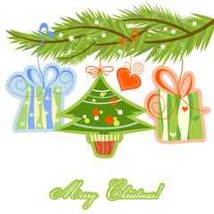 Christmas tree twig and gifts