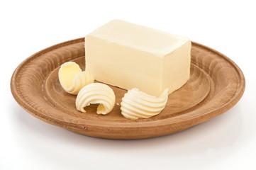 Burro su piatto di legno