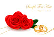 Wedding rings and roses bouquet. Vector