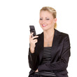 Young happy business woman with mobile phone