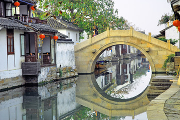 Shanghai water village Zhouzhuang old bridge.