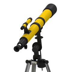 Yellow telescope on a white background