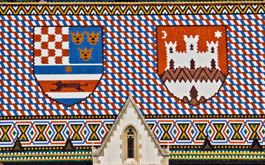 Saint Marco church roof with Croatian coat ofarms