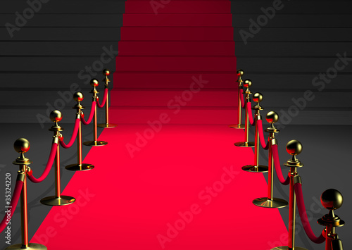 Canvas Trappen Tapis rouge 3D - Perspective